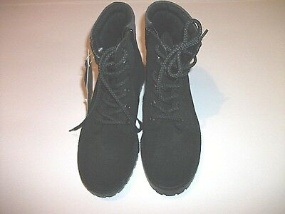 M&S Kids Girls Black Suede Lace Up Ankle Boot Size 3/35.5 Hidden Zip New