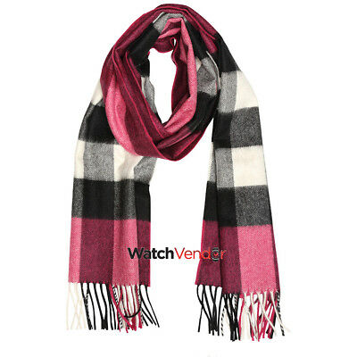 Burberry The Large Classic Cashmere Scarf in Check - Fuchsia Pink