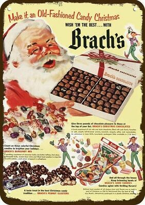 1952 BRACH'S CANDY & SANTA CLAUS AT CHRISTMAS Vintage Look REPLICA METAL SIGN
