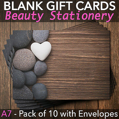Blank Gift Voucher Card Massage Beauty Spa Holistic Salon - x10 + Envelopes