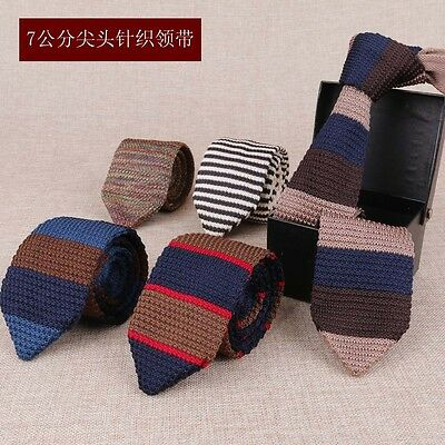 NEW Men Colourful Stripe Knit Knitted Tie Necktie Narrow Slim Skinny Woven