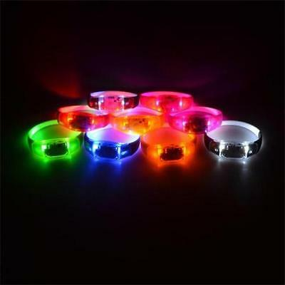 Voice Activated Sound Control LED Flashing Bracelet Bangle Wristband Night Club