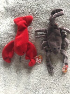 2 Ty Beanie Babies Stinger the Scorpion & Pinchers the Lobster Baby Animals