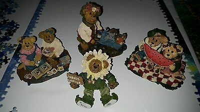 Boyds Bears The Bearstone Collection ~ Lot of 4 ~ Sunflower Bear Friends Forever