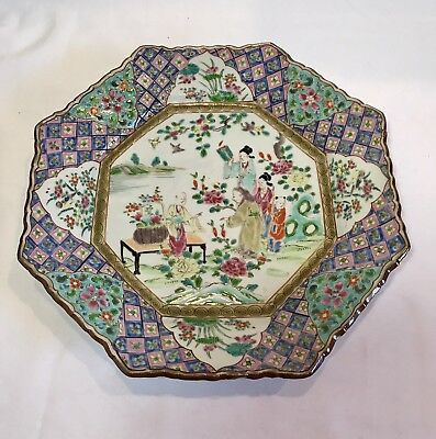 Beautiful Rose Medallion Octagon Plate - Signed