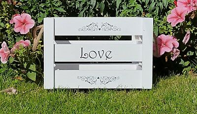 Shabby Chic Wedding White Crate Card Box Personalised Or Love Print