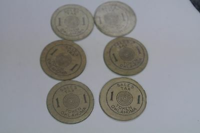 Lot Of (6) Oklahoma Sales Tax For Old Age Assistance Pressboard  Tokens