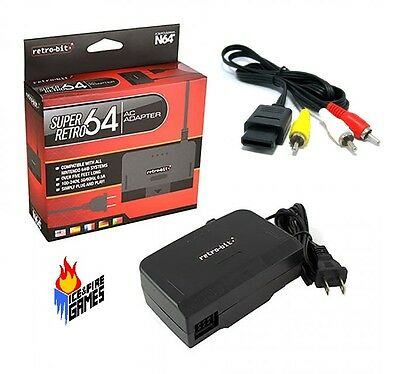 New N64 Combo: AC Power Adapter Cord + Audio Video AV Cable (Nintendo 64)