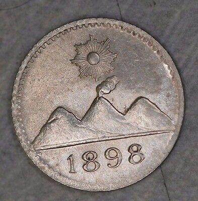 Guatemala 1/4 Real, 1898 Silver TINY Coin (About 11mm diameter!) DIPPED KM162