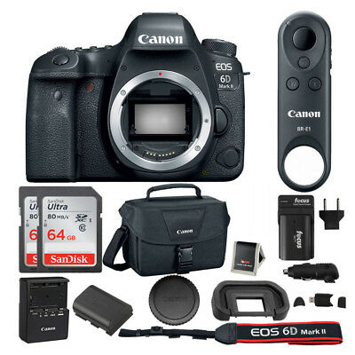 Canon EOS 6D Mark II DSLR Camera Body, BR-E1 Remote Control, SLR Bag & 128GB Kit