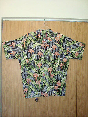 Beautiful Print WHOOLA'S Authentic Hawaiian XL Shirt Made in U.S.A.