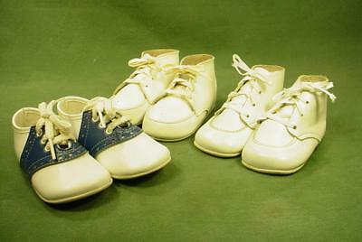 3 PAIRS SUPER NICE VINTAGE LEATHER BABY or DOLL SHOES SMALL SIZES SOFT SOLES