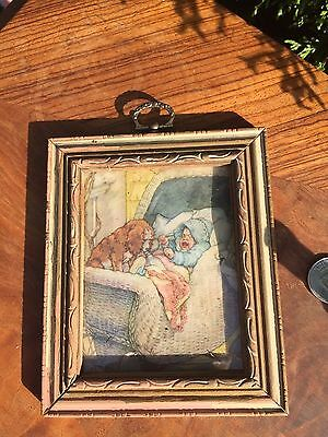 ANTIQUE FRAME & PRINT Cocker Spaniel w Baby in Carriage WANTED A DOG CATCHER