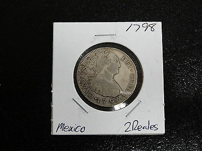 1798 Mexico 2 Reale Coin Nice!