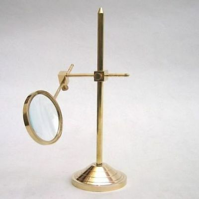 "11"" Brass Magnifying Glass On Stand - Nautical - Vintage - Magnifier - Office"