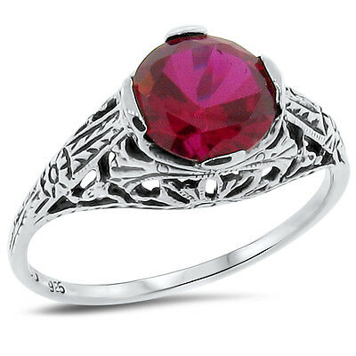 Art Deco Lab Ruby 925 Sterling Silver Antique Style Filigree Ring Size 6,   #175