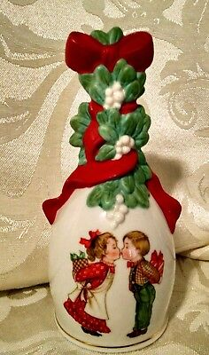1989 Avon Christmas Bell Kissing Boy and Girl Dated 1989 On Back Gold Paint