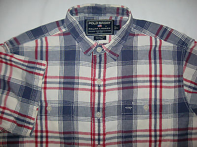 Polo Sport Ralph Lauren - Patterned Cotton Shirt - Size L - Short Sleeve-Pockets