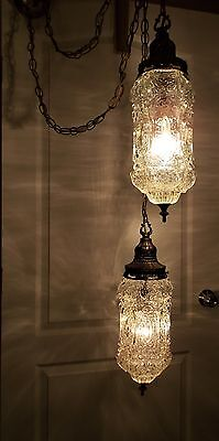 VTG 70s MCM RETRO HANGING SWAG LAMP LIGHT CHANDELIER,CRYSTAL BUBBLE OPTICS GLASS