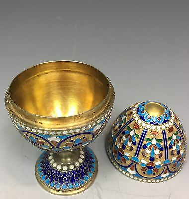 antique russian 84 silver enamel egg box easter
