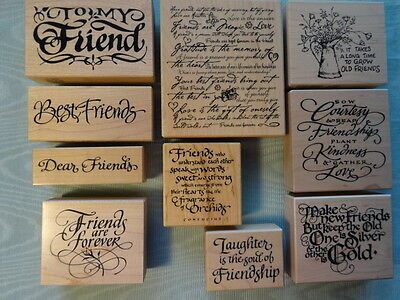 PSX Rubber Stamps~Your Choice~Ten different~ FRIEND'S ~ themed stamps in EUC