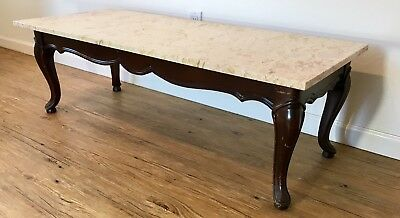 Antique Marble & Mahogany Cabriolet Coffee Table