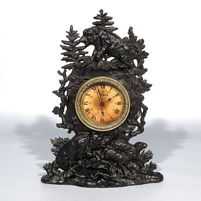 Rare Antique French Black Forest Cast Iron Clock, Bears, Sheep, Trees, Signed