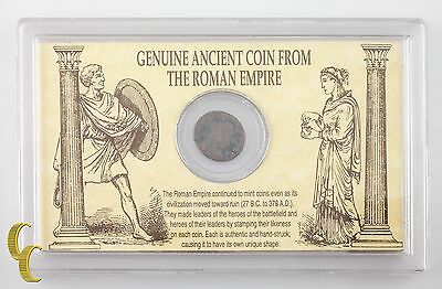 Genuine Ancient Coin From the Roman Empire in Plastic Informational Display