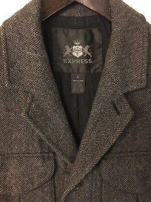 EXPRESS Men's - Tweed Wool Military Coat Jacket, Size L