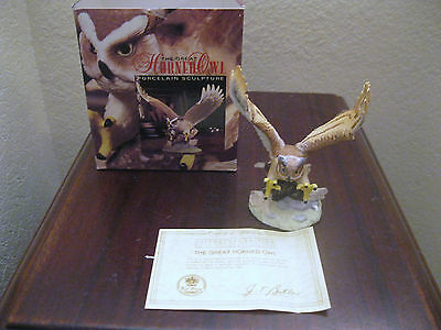 Royal Heritage Great Horned Owl Porcelain Sculpture Mint In Box With Coa