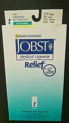 627 Complete Medical Large Full Calf Jobst Relief 20-30 Kne OT in Beige Pair