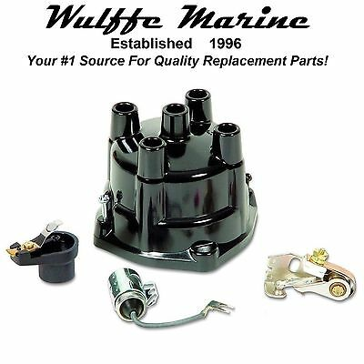 Tune-Up Kit for GM 4 Cylinder Mercruiser OMC Points Condenser Rotor Cap 18-5268