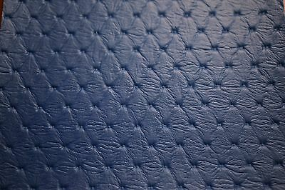 """Vinyl Fabric Pacific Blue Embossed Diamond Faux Leather Upholstery 54""""W Pleather"""