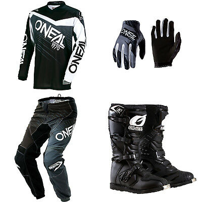 ONeal Element Black motocross dirtbike MX gear - Jersey Pants Gloves Boots Combo