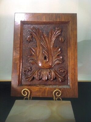 "Antique Solid Oak Hand Carved Foliage Architectural Wall Panel 15""X11.25""X1"""