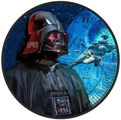 2017 1 Oz Star Wars Darth Vader Coin WITH 24K BLACK RUTHENIUM.