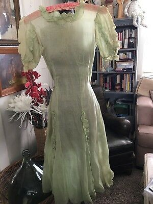 Antique Vintage 1930's Green Sheer Great Gatsby Garden Party Bias Cut Gown Dress