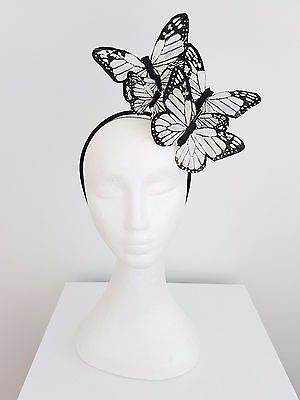 Miss  Papilion womens feather butterfly headband fascinator in White