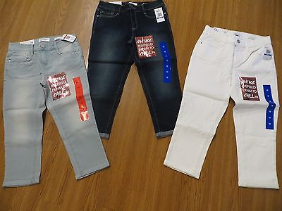 New Girls Jessica Simpson Roll Crop Skinny Jeans White Navy Lt. Blue 10, 12, 14