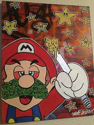 Custom 1 Of 1 - Dabbed Out Mario - By IToke - 20x16 Canvas Original