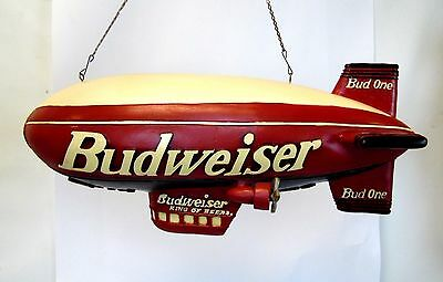 "Vintage 25"" Budweiser King of Beer Bud One Hanging Resin Wood Bar Man Cave Blimp"