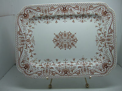 Antique Transferware T&R Boote Made in England Tournay Brown Ironstone Platter