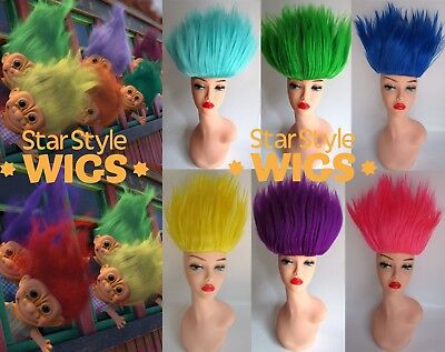 DELUXE ADULT TROLL DOLL MINIONS 90's SPIKY BRIGHT COSTUME WIGS