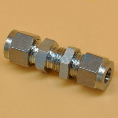"304 Stainless 1/8""-1/2"" OD Tube Bulkhead Double Ferrule Compression Union"