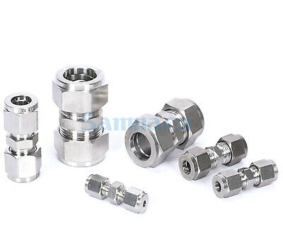 304 Stainless Fit 3-30mm OD Tube Double Ferrule Compression Union Fitting