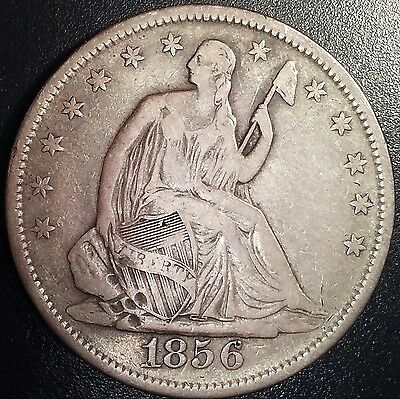 1856 Seated Half Dollar. Large U.S. silver coin/token/medal/charm/round/exonumia