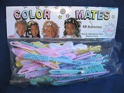 Vtg New Pastel Colors 48 Hair Barrettes Girls Color Mates In Package 1970's-80's