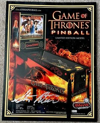 AUTOGRAPHED - Game Of Thrones Limited Edition Pinball Brochure!  Stern Pinball