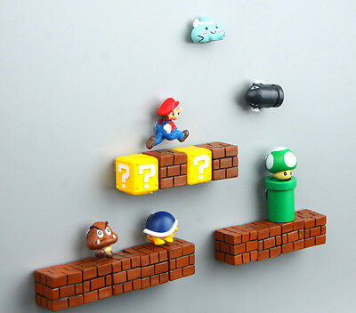 Super Mario Bros Mushroom Brick Pipe Tortoise Monster Video Game Fridge Magnets