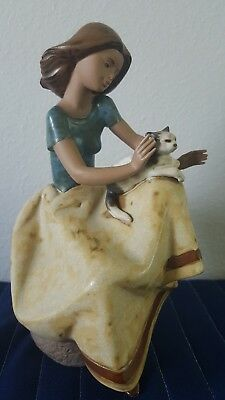 Lladro Little Girl With Cat Sitting # 2109 Fantastic Figurine